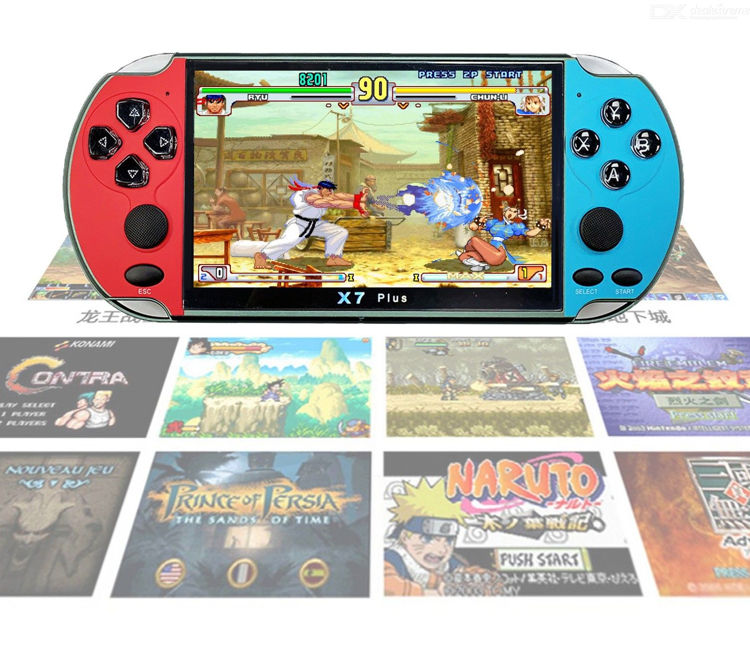 X7 PLUS 5.1 Inch Large Screen PSP Handheld Game Machine, Retro Classic Mini FC Game Player Support GBA / Arcade