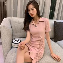 Women's Mini Dress Retro Elegant High Waist Turn-down Collar Short Sleeve Ruch Ruffled A-line Dress