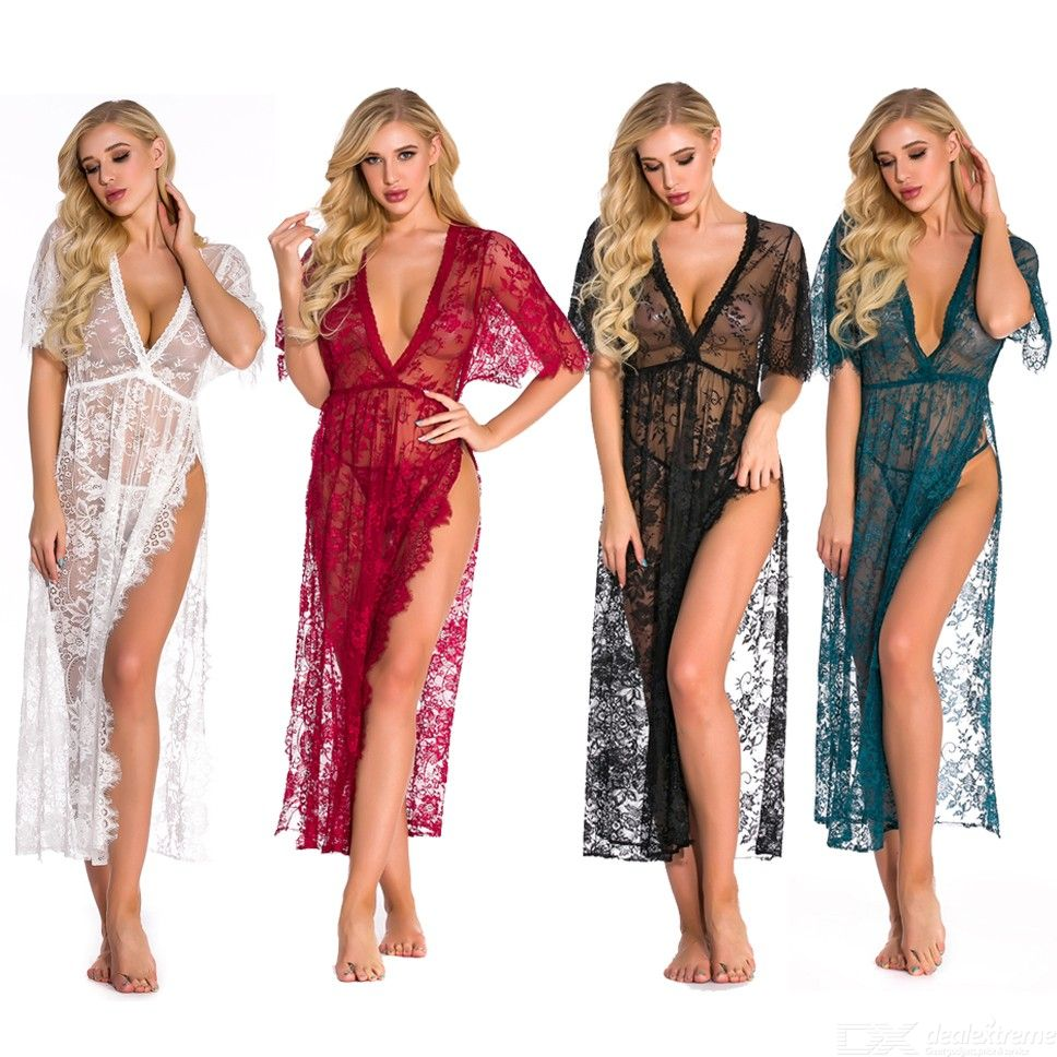 See-Through | Nightwear | Cover-up | Sheer | Women | Dress | Robe | Gown | Deep | Neck | Lace | Long