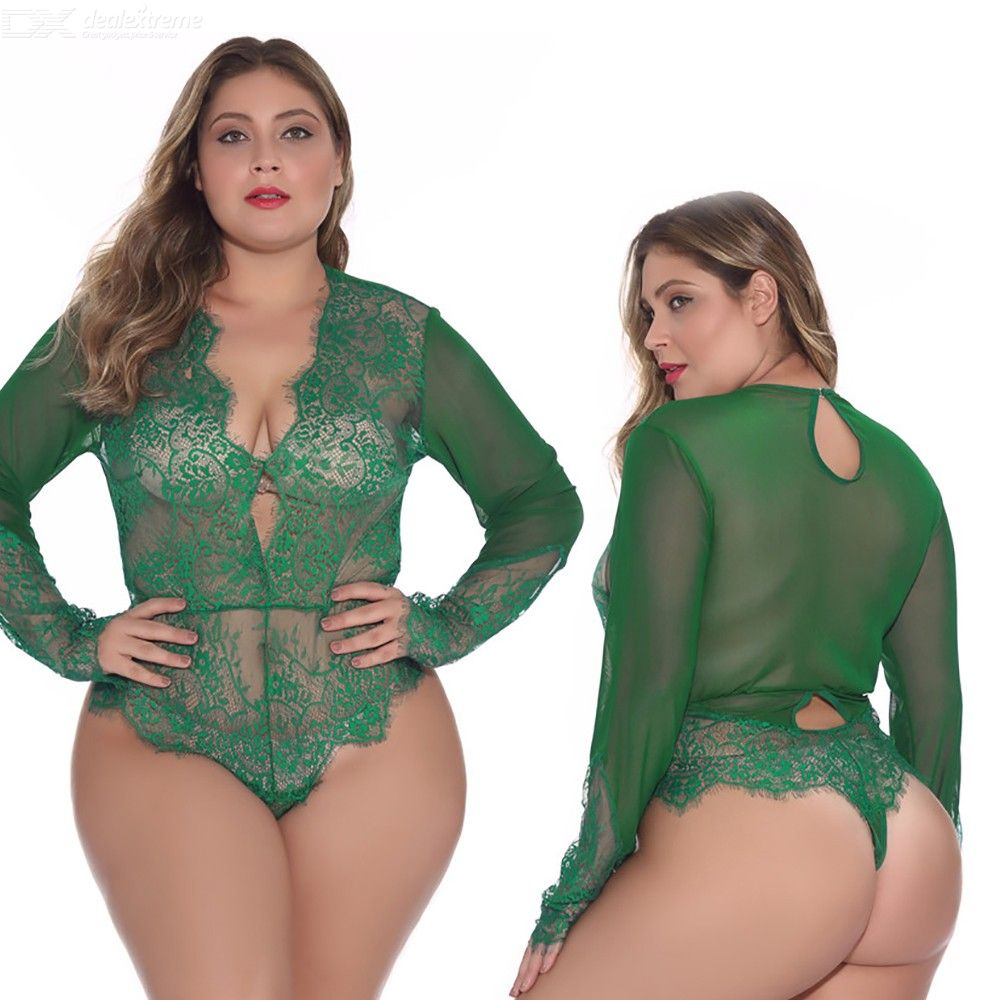 See-Through | Sleeve | Teddy | Sheer | Women | Mesh | Lace | Long | Plus | Size