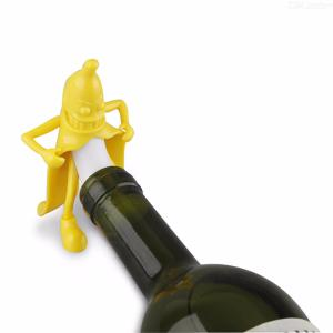 2 Pack Wine Stopper Novel Funny Yellow Banana Man Bottle Stopper