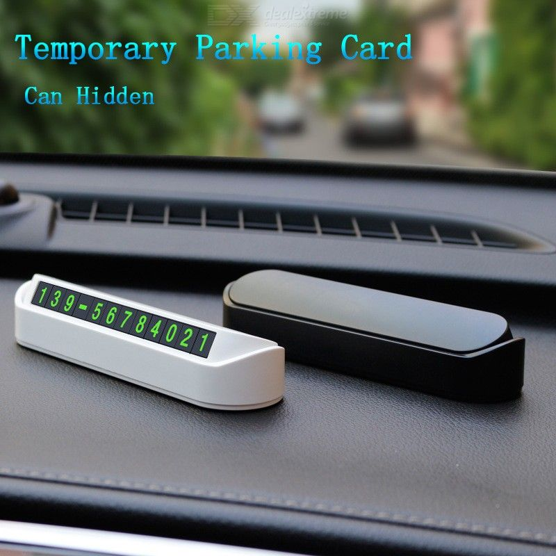 Stylish Car Temporary Stop Sign, Luminous Magnetic Phone Number Display Parking Card Plate