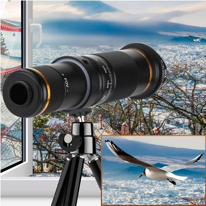 Mobile Phone Telephoto Lens 38X Zoom Double Focus HD Cell Phone Camera Lens with Tripod for iPhone Samsung HTC Nokia