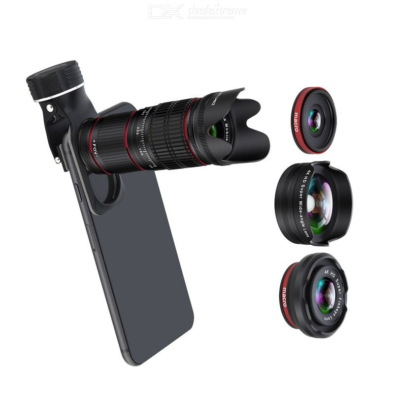 Cell Phone Camera Lens 12.8X Zoom Double Focus HD Phone Telephoto Lens with Fisheye Lens Wide-angled Lens Marco Lens