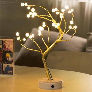 Golden Table Tree Lamp, 36 Pearl Bulbs Tree-shaped USB LED Night Light Centerpiece Decor Light For Home/Christmas/Party