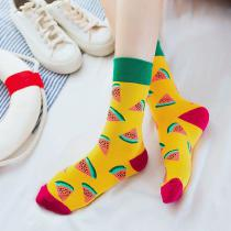1 Pair Of Cute Fruit Socks Colorful Cartoon Mid Tube Stocking For Women