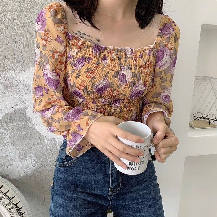 Dealextreme / Womens Long Sleeve Chiffon Blouses Tops Ruffle Casual Floral Shirts