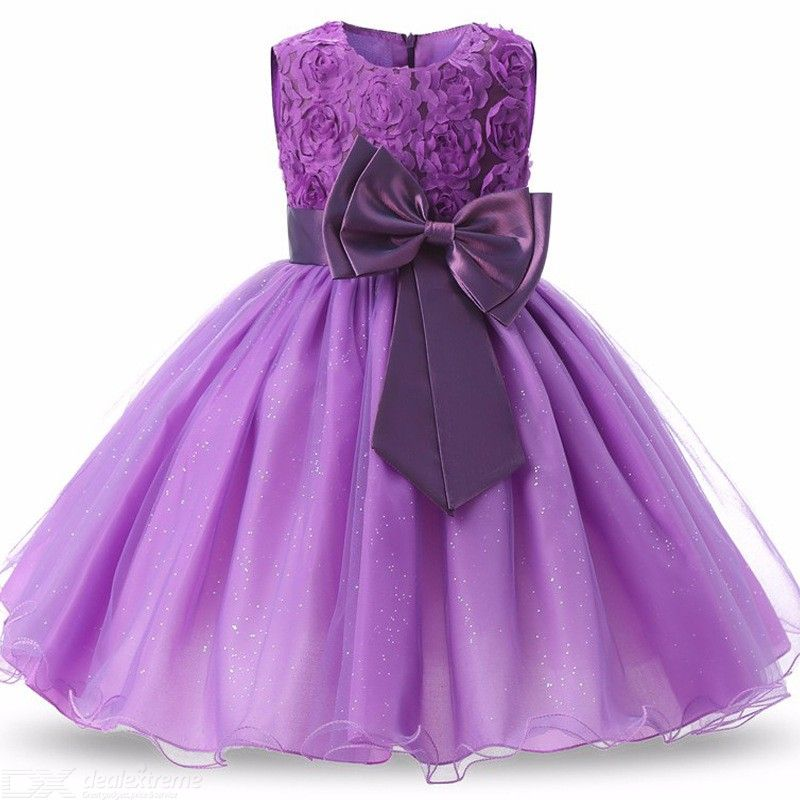 Formal Dress Glittery Wedding Princess Dresses With Large Bowknot For Girls Aged 6-month To 13-year
