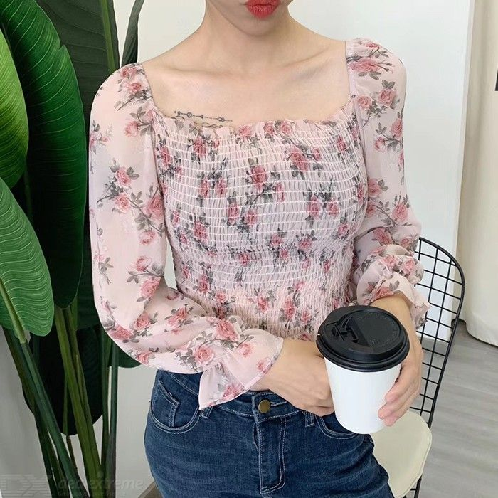 Dealextreme / Womens Long Sleeve Chiffon Blouses Tops Lightweight Casual Floral Shirts