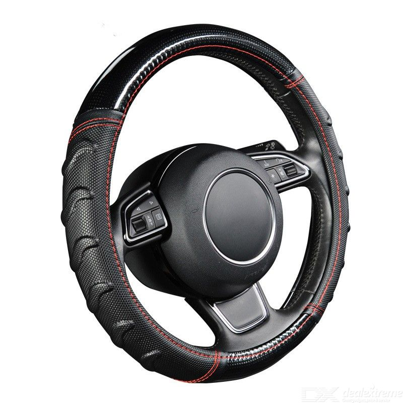 AUTOYOUTH Universal Car Steering Wheel Cover, Willow Patterned Non-Slip Massage Leather Cover Fits Most Car - M Size (38cm)