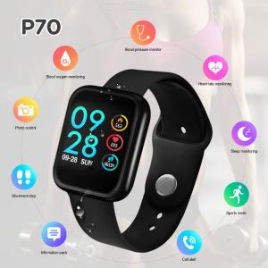 P70 Smart Watch, Blood Pressure Heart Rate Monitor IP68 Fitness Bracelet Women Men Smartwatch For IOS Android