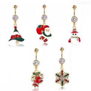 Santa Claus Belly Rings Christmas Surgical Steel Navel Body Piercing Jewelry