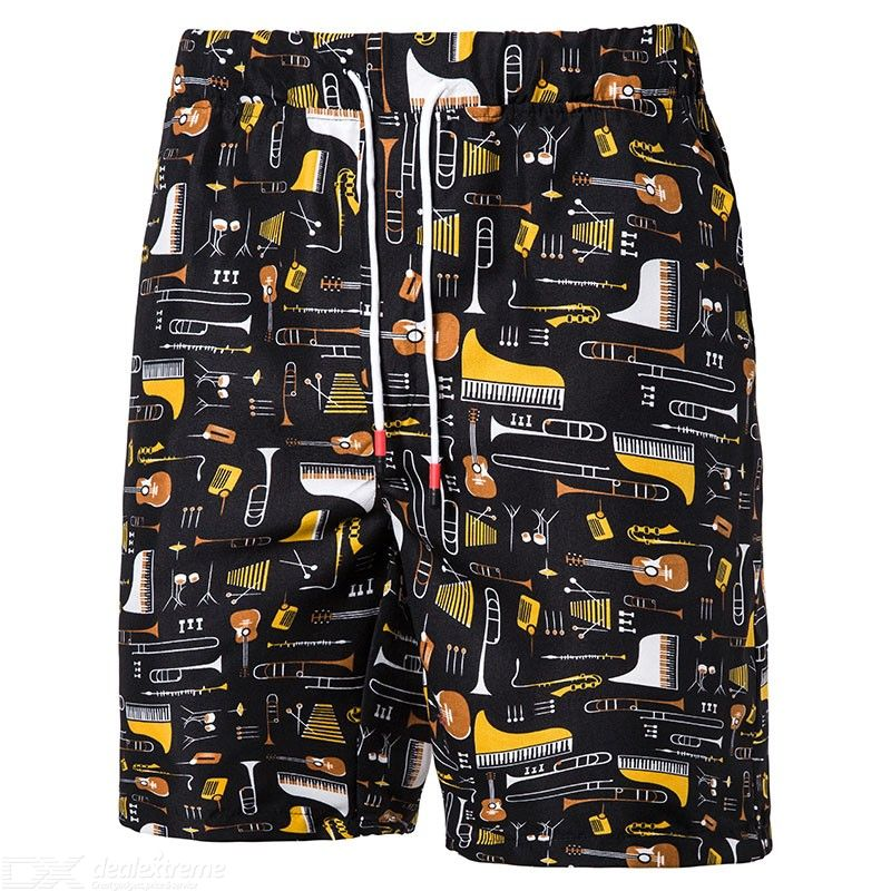 Men Plus Size Print Casual Drawstring Beach Shorts Swimming Trunks for Summer