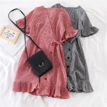 Womens Retro Style Plaid Dress Elegant Button Down Check Printed Dress With Ruffles