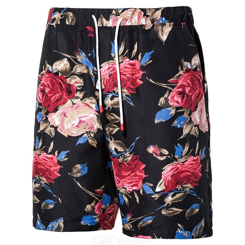 Men Plus Size Fashion Print Casual Drawstring Beach Shorts Swimming Trunks for Summer