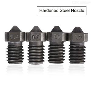 V6 Hardened Steel Nozzle With M6 Thread 1.75mm 0.3/0.4/0.5/0.6/1.0mm Filament For 3D Printer Parts