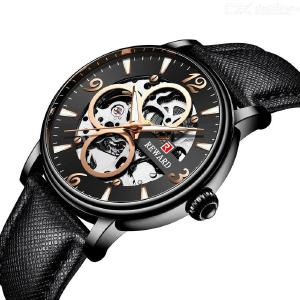 REWARD Male Luxury Automatic Mechanical Watch Waterproof Leather Strap Business Wristwatch