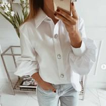 Casual Lantern Sleeve Ladies Blouse Autumn Solid Color Turn-Down Collar Shirts Tops For Women