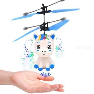 Magic Hand Control Flying Unicorn Helicopter, Electronic Infrared Induction Aircraft Shinning LED Light Quadcopter Drone