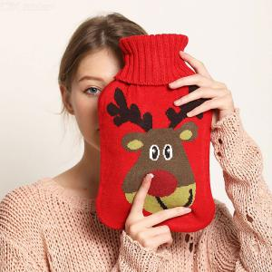 2000ML Classic Rubber Hot Water Bottle With Cute Knit Cover