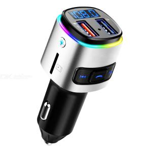 BC41 Bluetooth Car Kit All-in-One Bluetooth FM Radio Adapter Music Player Car Phone Charger With 2 USB Ports Supports QC 3.0