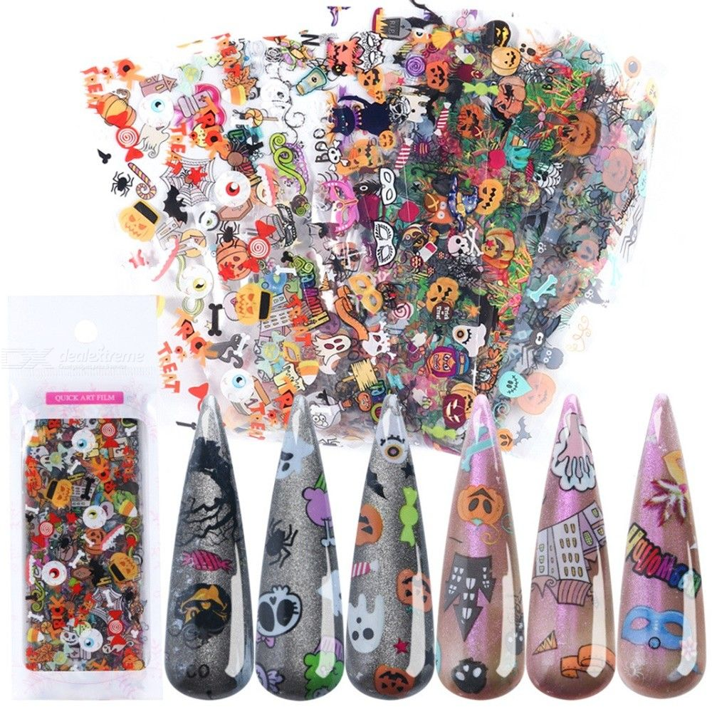 10 Sheets Halloween Decals Cute DIY Nail Art Tips For Halloween Party
