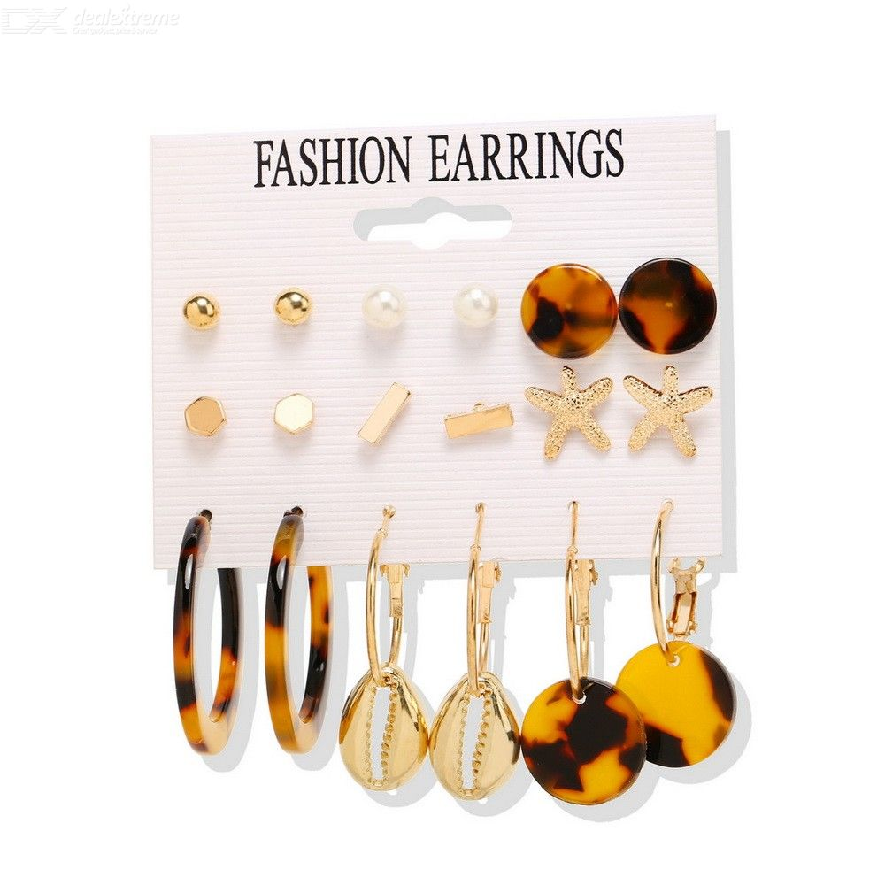 9 Pairs Of Earring Set Retro Style Earrings Dangle Earrings Ear Hoop Ear Studs Set фото