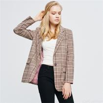 Vintage Plaid Lapel Blazer Jacket Casual Buttoned Long Sleeve Coat Outerwear For Women
