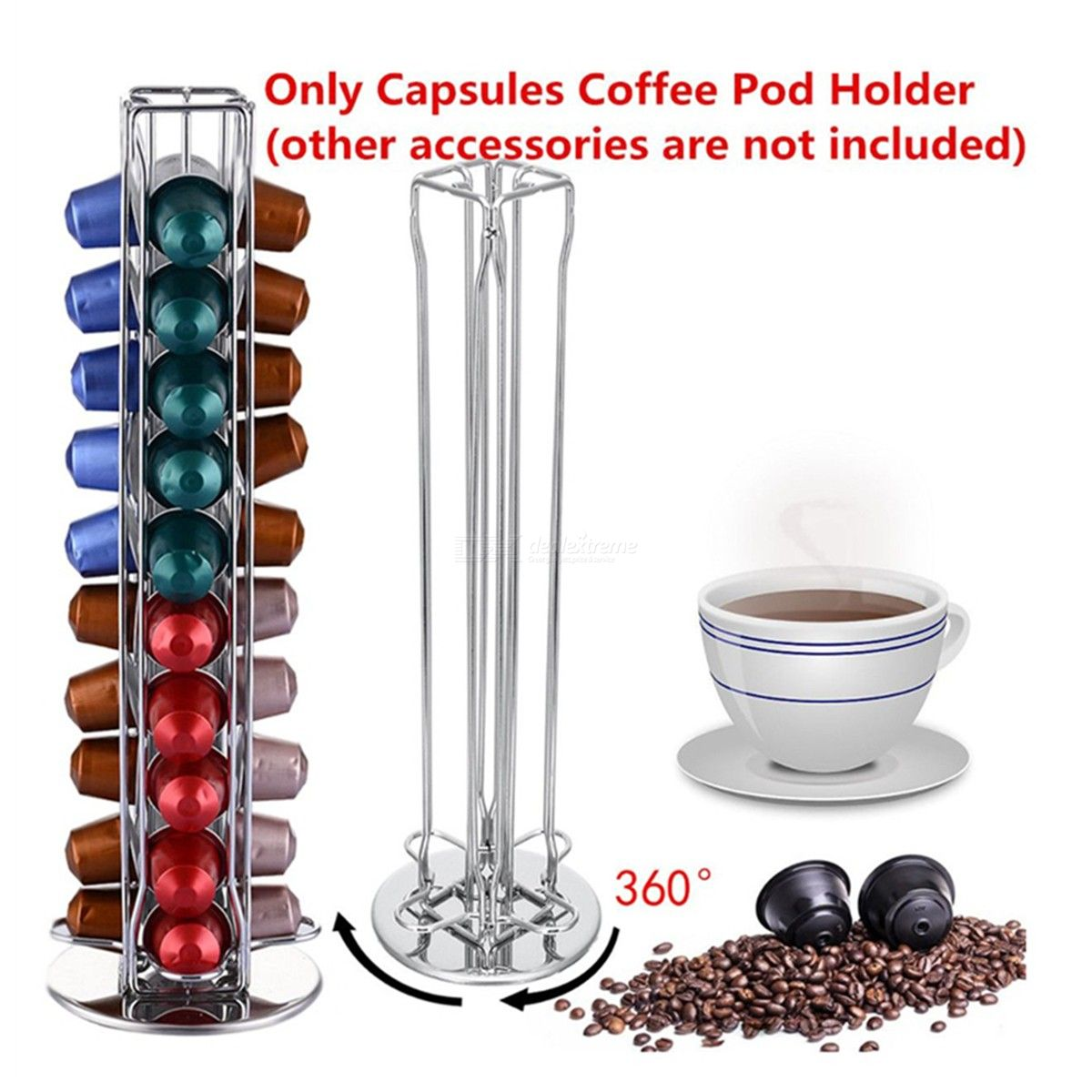 360 Degree Rotating 40 Capsule Coffee Pod Holder Tower Stand Rack Fits For Nespresso Capsule