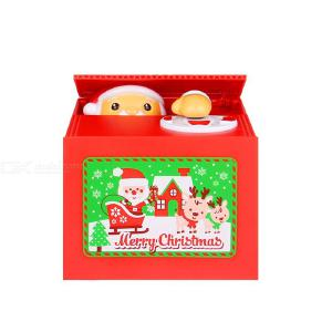 Cute Christmas Piggy Bank Toy, Automatic Santa Stealing Money Coin Saving Box Gift for Children