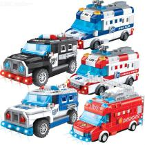 Electric-Battery-Powered-Police-Car-Rescue-Vehicle-Truck-DIY-Blocks-Educational-Toy-With-Lights-And-Sounds-For-Kids-Children