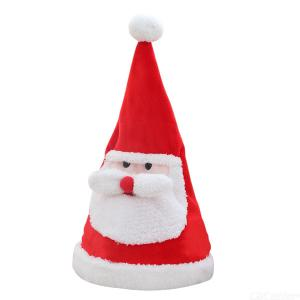 Wiggling Santa Claus Hat Adjustable Plush Christmas Hat With Sound Light Effect