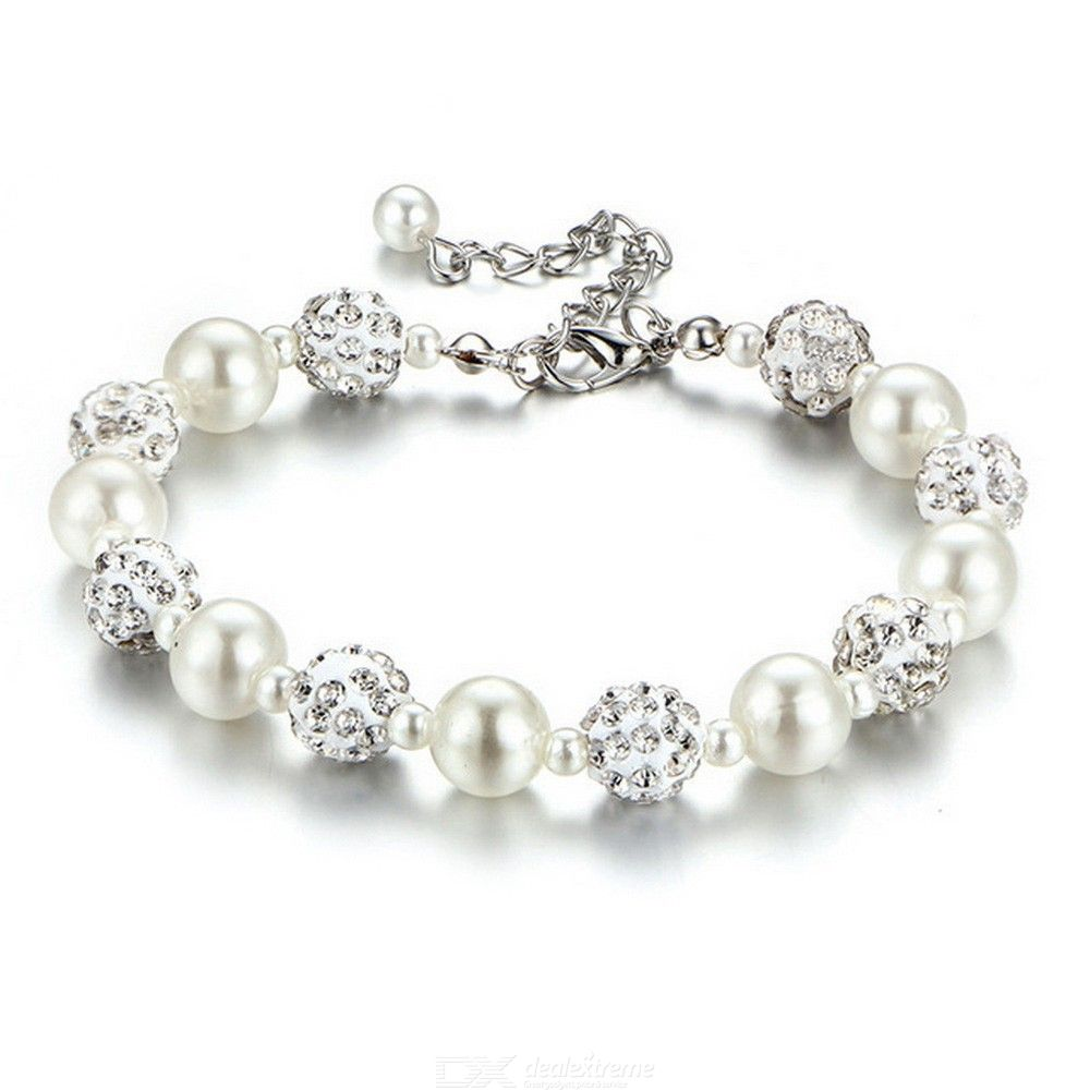 Crystal Pearl Beaded Bracelet Adjustable Charm Bracelets Alloy Chain Jewelry Gifts For Women