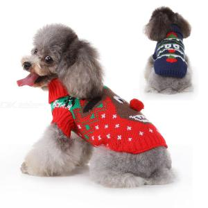 Cute Dog Sweaters Christmas Tree Elk Pattern Pet Costumes Autumn Winter Warm Puppy Clothes Coat