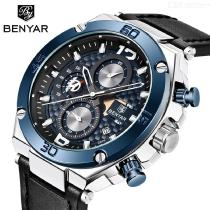 Mens Fashion Sports Watch Casual Waterproof Quartz Watch With Leather Strap