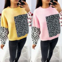 Womens Long Sleeve Casual Sweatershirt Crew Neck Loose Fit Blouses Tops