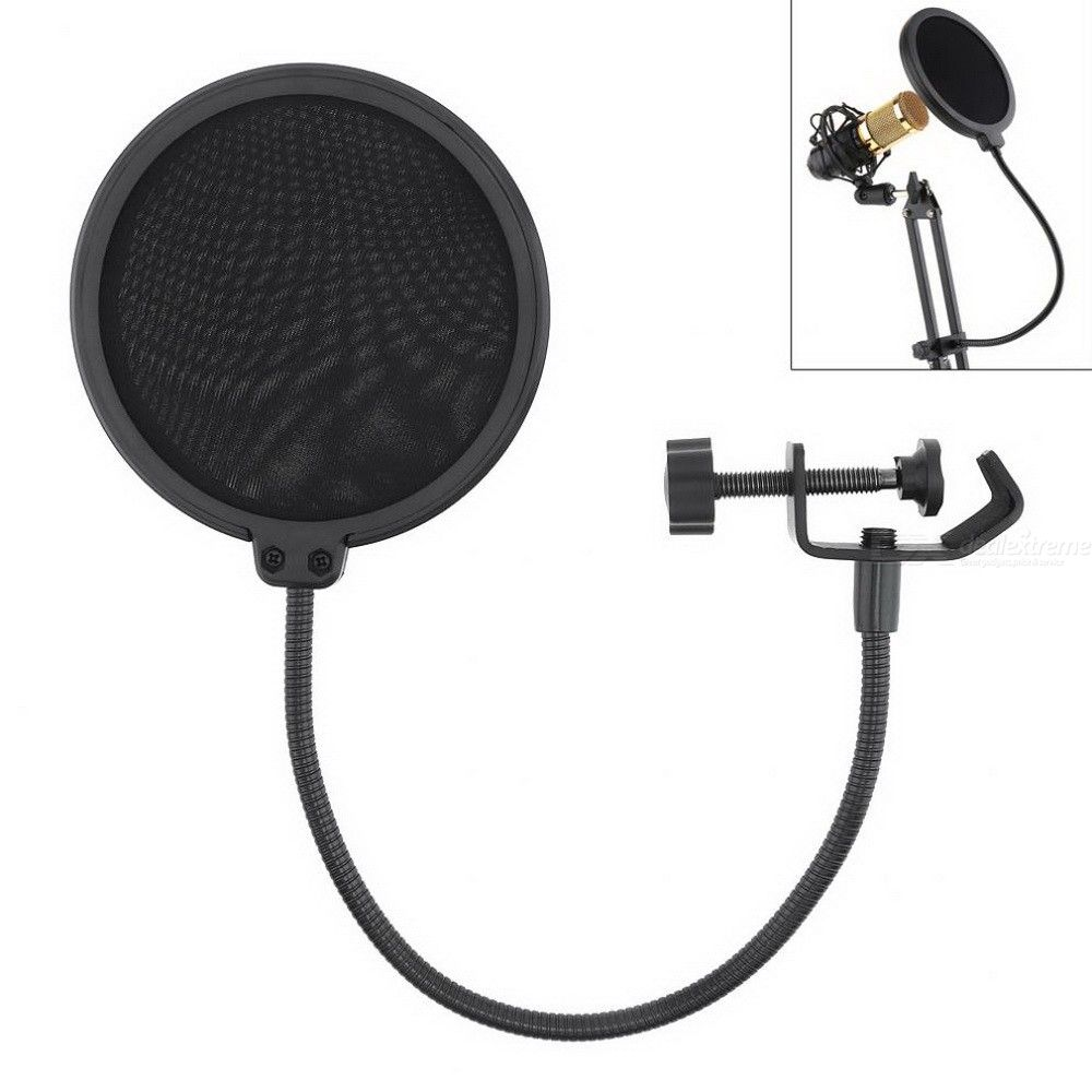 Microphone Pop Filter Adjustable Double-Layered Mic Windscreen Cover