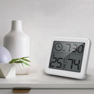 Indoor Digital Thermo-Hygrometer Ultra-Slim Thermometer Hygrometer With Time For Home Office Nursery