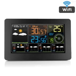 WIFI Wireless Weather Station Alarm Clock With Wireless Sensor Indoor Outdoor Thermometer Hygrometer Weather Forecast, EU Plug