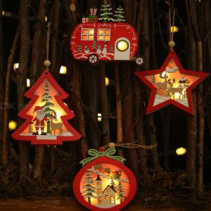 Christmas Hanging Lights Wooden Battery-powered LED String Lights Christmas Hanging Pendant Decoration