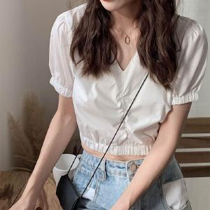 Womens Short Sleeve Crop Tops V Neck Solid Shirts