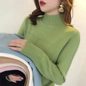 Women's Ribbed Jumper Autumn Winter Solid Color Turtle Neck Knitted Pullover Sweater