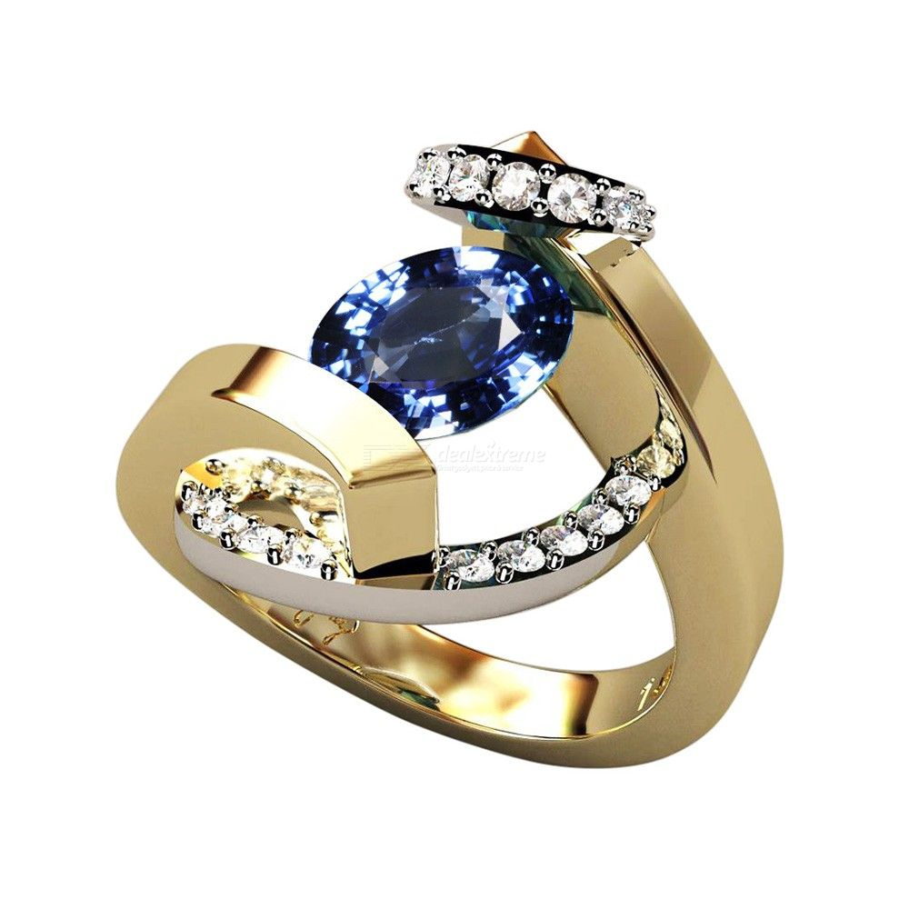 Gorgeous Plated 18K Gold Rings Swirl Wrap Suspension Set Ladies Ring Fashion Jewelry