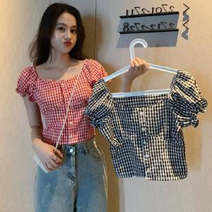Womens Casual Short Sleeve Plaid Shirts Button Down Slim Blouses Top