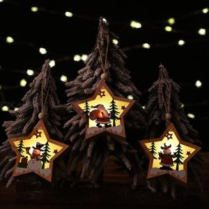 Christmas Hanging Lights Battery Powered Christmas Wooden Hanging Pendant Decoration With LED Light