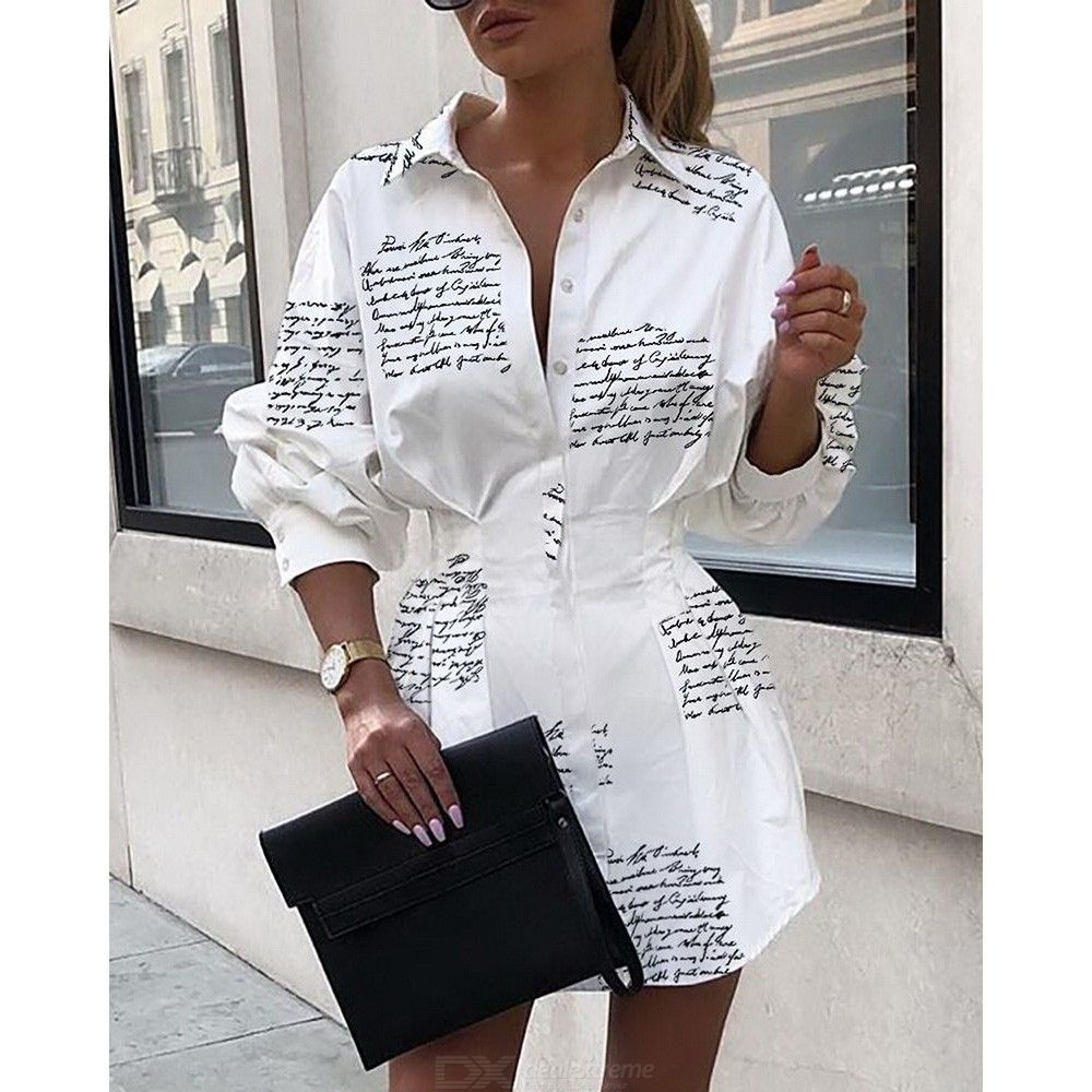 Sexy Letter Print Tight Waist Shirt Dress Autumn Lantern Sleeve Mini Dresses For Women