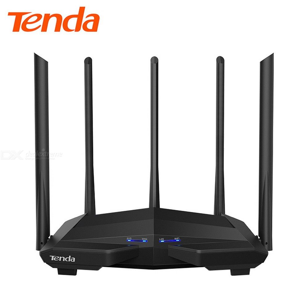 Tenda AC11 Gigabit Port High Power 1200M Dual Band 2.4G 5G Gigabit Wireless WIFI Router Repeater - US Charger - White