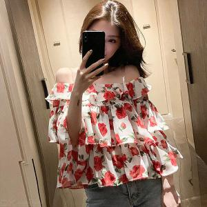 Sexy Off Shoulder Ruffle Blouse Loose Floral Print Chiffon Tops For Women