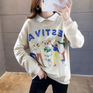 Womens Printed Turn Collar Loose Fit Pullovers Sweatershirts