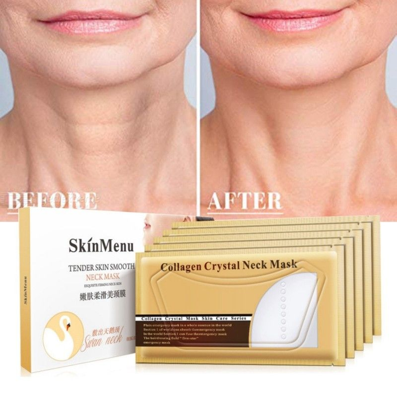 Collagen Neck Mask Anti-Wrinkle Anti-Aging Hydrating Moisturizing Firming Brightening Neck Pads Patches, 5PCS